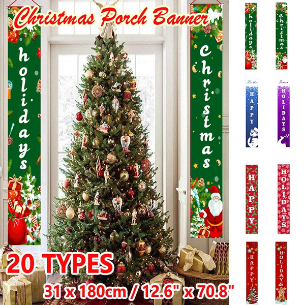 New Home Ornament 2020.2pcs Set 2020 New Merry Christmas Porch Banner Christmas Outdoor Decoration For Home Hanging Pendant Christmas Ornament