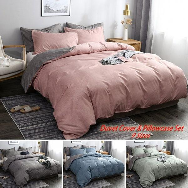 4 Colors Minimalism Bed Duvet Cover Pillowcase Set Solid Soft