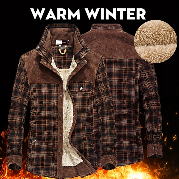 YYear Mens Casual Warm Thicken Slim Fit Winter Checked Button Up Fleece Lined Shirts