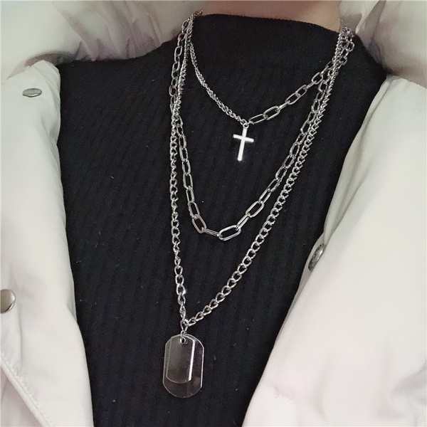 Multilayers Punk Silver Chains Cross Necklace Couple Fashion Street Hip Hop Geometric Metal Pendant Necklaces For Women by Wish