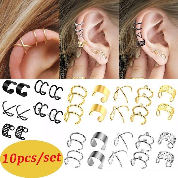 10pcs Set Stainless Steel Ear Cuff No Piercing Helix Piercing