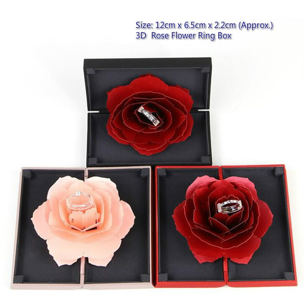 3D Rose Ring Box Pops Up Storage Holder Case Wedding Engagement Jewelry TO