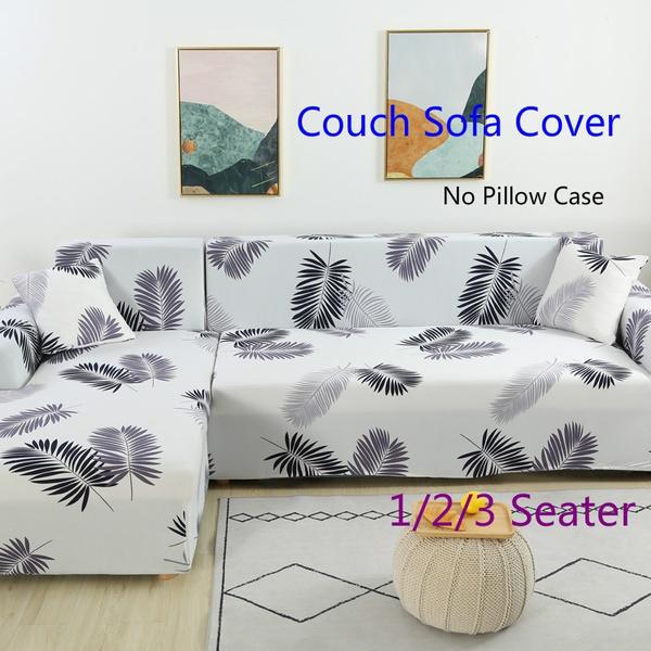 L Shape Black/White Feather Sofa Slipcovers Elastic Sofa Cover Armchair  Slipcovers Chair Slipcovers 3 Seaters Strech Sofa Covers Couch Slip Cover  ...
