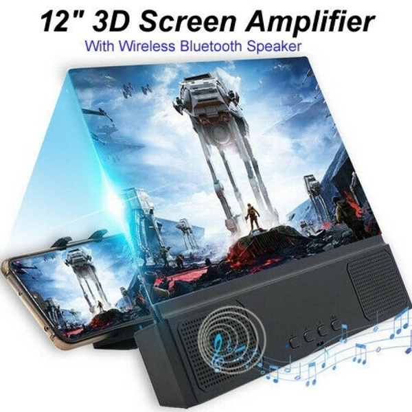 12in Mobile Phone Screen Magnifier 3D HD Video Amplifier Smartphone Stand