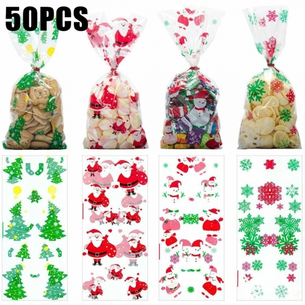 50pcs New Christmas Cellophane Candy Bag Treat Party Bags Christmas Party Favor Gift