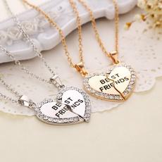 heartrhinestonenecklace, bestfriendpendantsnecklace, friendshipnecklace, gold