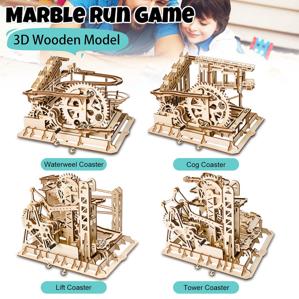 Marble Run Game Diy Waterwheel Coaste 3d Wooden Model Creative Steampunk Home Decor Toy Puzzle Challenge For Children Adult Gift