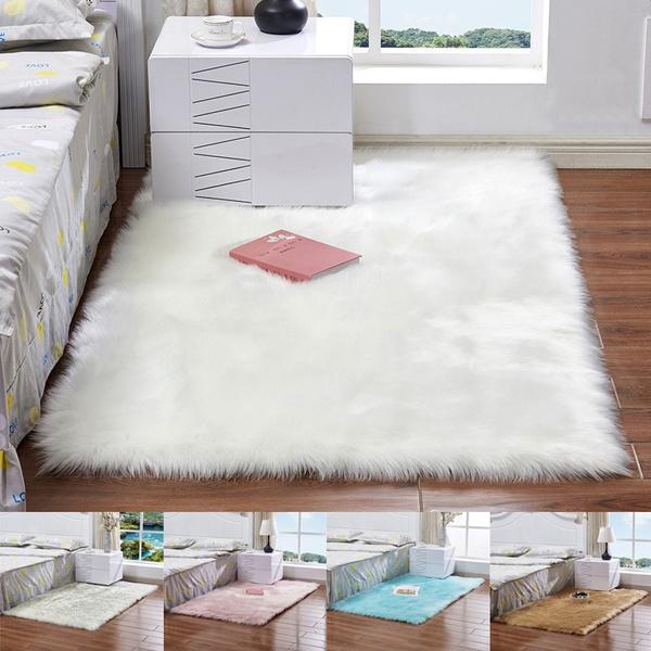 Faux Wool Sofa Carpet Mat Whole Wool Cushion Living Room Bedroom Long Plush  Blanket Baby Nursery Childrens Room Rug