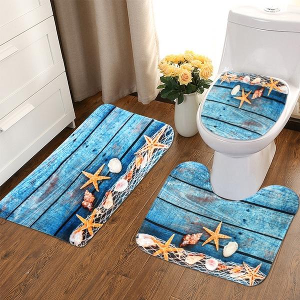 3pcs//set Seascape Bath Mat Bathroom Carpet Set Ocean Underwater World Pattern An