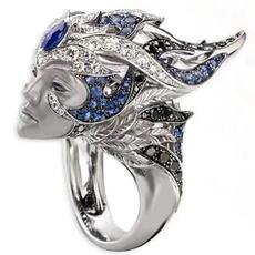 Fashion, wedding ring, 925 silver rings, gold
