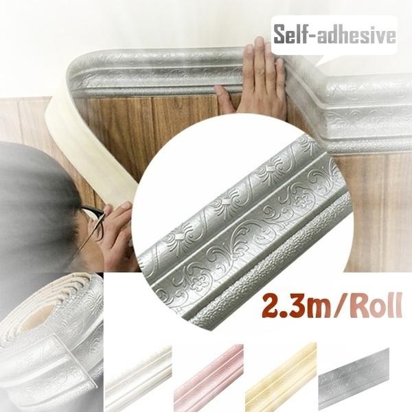 High Quality 2 3m Roll 3d Waterproof Rustic Tile Living Room Bathroom Baseboard Self Adhesive Vintage Wallpaper Borders 3d Wall Stickers Wish
