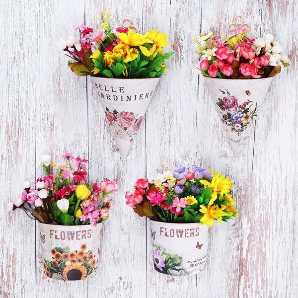 Romantic Plastic Flower Pot Wall Hanging Planter Plant Pots Holder Home Garden
