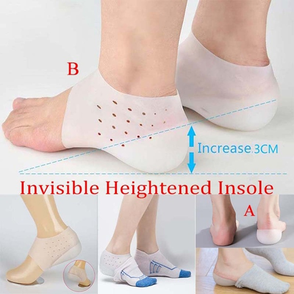 Silicone Invisible Height Lift Heel Pad Sock Liners Increase Insole Relieve Pain