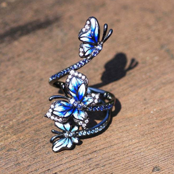 butterfly, Sterling, wedding ring, 925 silver rings