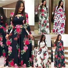 Plus Size, printeddre, Sleeve, long dress