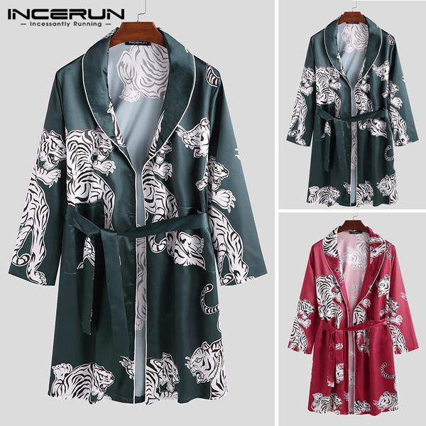 Mens Floral Printed Silk Satin Pajamas Sleepwear Robes Nightgown Bathrobe M-3XL