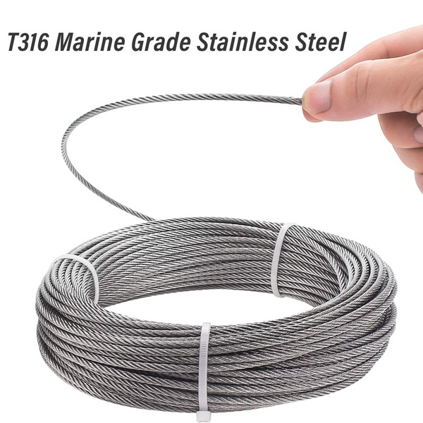 """T304 Stainless Steel Cable Wire Rope,5//16/"""",7x19,100ft Mining Hoist Fishery"""