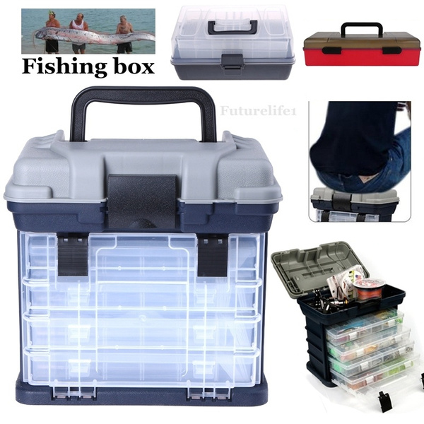 Multi Layer Fish Lures Container Box Durable Fishing Tackle Storage Case Fishing Rod Bait Box Portable Storage Case Wish