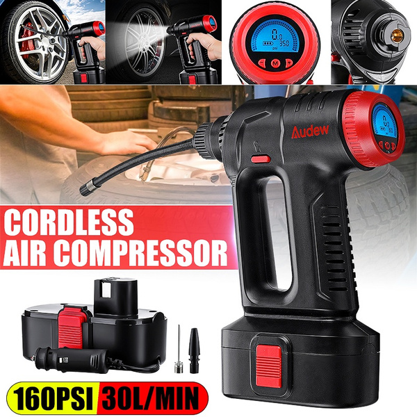 Audew 12V 160PSI Cordless Air Compressor Portable Tire Inflator LCD Rechargeable