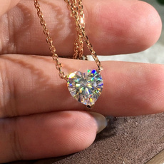 White Gold, Heart, Diamond Necklace, gold