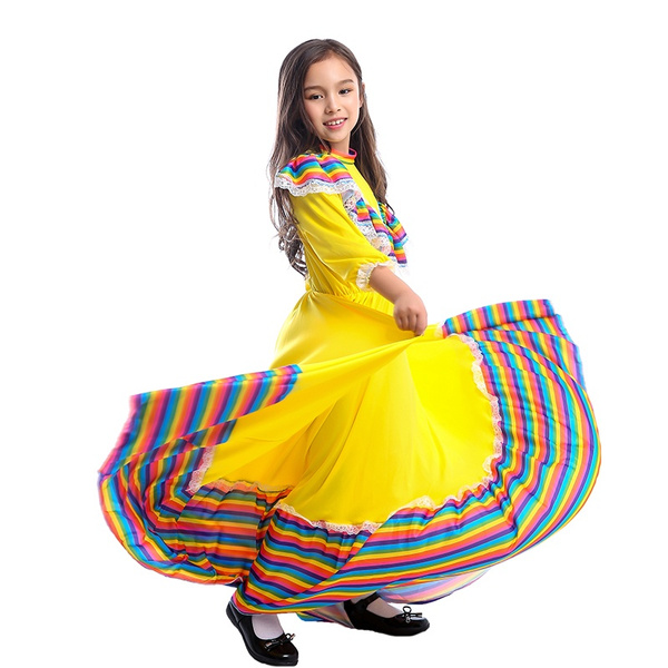 Girls Dress World National Mexican Style Costume for Carnival Festival Birthday Party Dress
