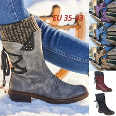 combat boots, midcalfboot, Leather Boots, Winter