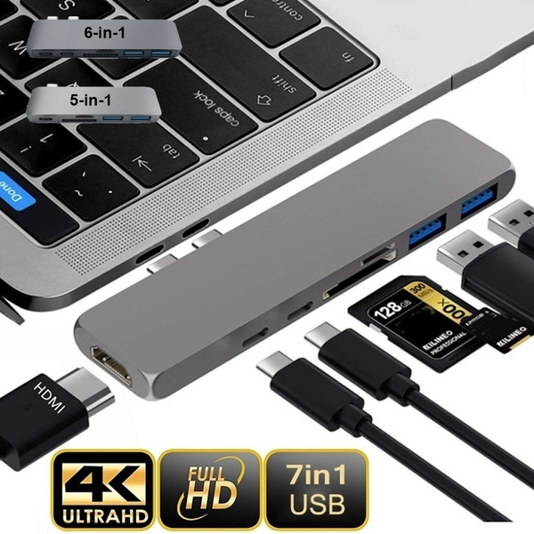 7 in 2 USB-C Hub Dual Type-C Multiport Card Reader Adapter HDMI For MacBook Pro