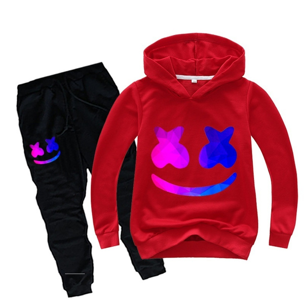 DJ Marshmello Kids Boys Girls Trousers Suit Hoodie Jumpers Sweatshirt+Pants 2PCS