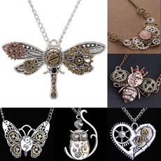 Antique, Owl, Chain Necklace, butterfly