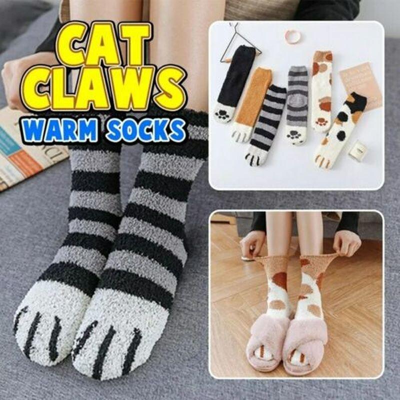 Winter Cat Claws Cute Thick Warm Sleep Floor Socks Plush Coral Fleece Socks UK