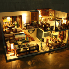minihhouse, led, doll, Wooden