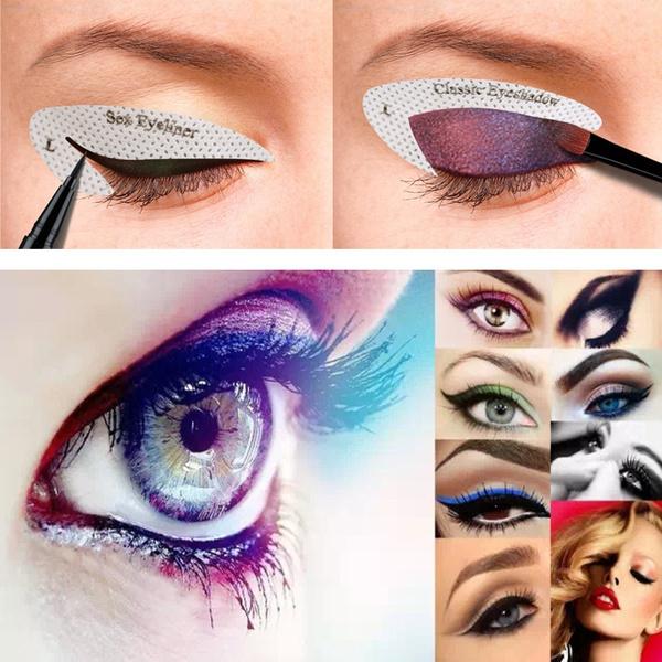 New Eye Makeup Adhesive Tips Template Fast Eyeliner Eye Shadow Makeup Drawing Lining Stencils Stickers Eye Make Up Tools Kit Wish
