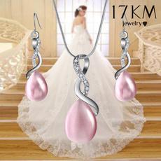 crossearring, opalearring, Cross necklace, Simple