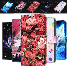 xiaomiredminote8procase, huaweipsmart2019case, Flowers, leather wallet