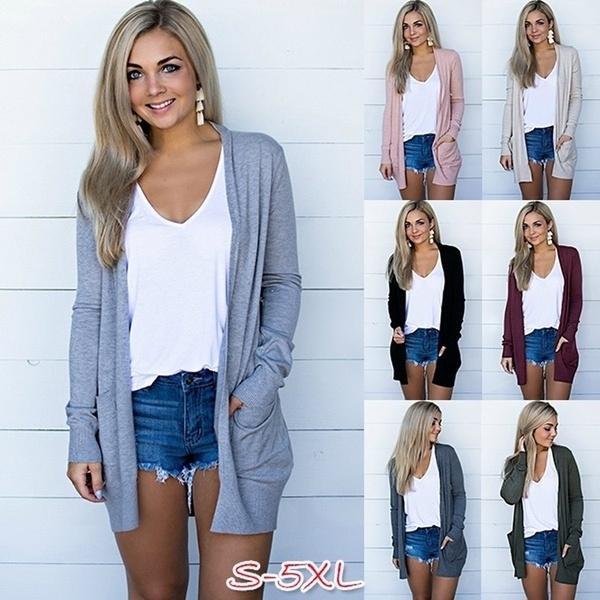 Plus Size, cardigan, Long Sleeve, Coat