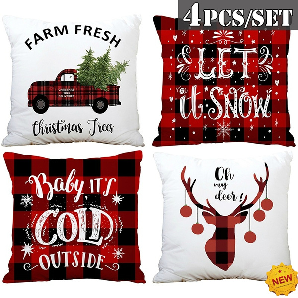 NEW Farmhouse Christmas Pillow Covers 18x18in Set of 4 for Christmas Decor  Red Truck Buffalo Check Throw Pillows Black and Red Buffalo Plaid Christmas  ...