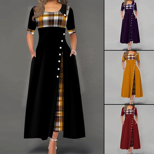 buttondres, Plus Size, irregulardres, plus size dress