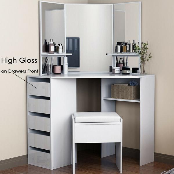 High Gloss Corner Dressing Table Set In