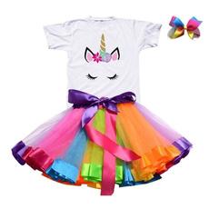 Summer, girls dress, kids clothes, unicorn