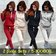 Plus Size, Hoodies, Sleeve, Long pants