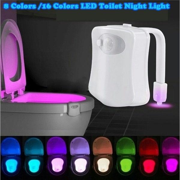 Toilet Night Light 16 Color LED Motion Activated Sensor Bathroom bowl Seat Lamp