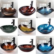 Bathroom, Porcelain, temperedgla, popupdrain