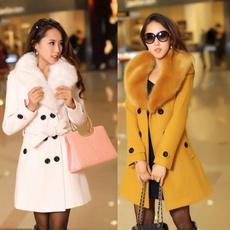 woolen, woolen coat, furcollarcoatwomen, fur