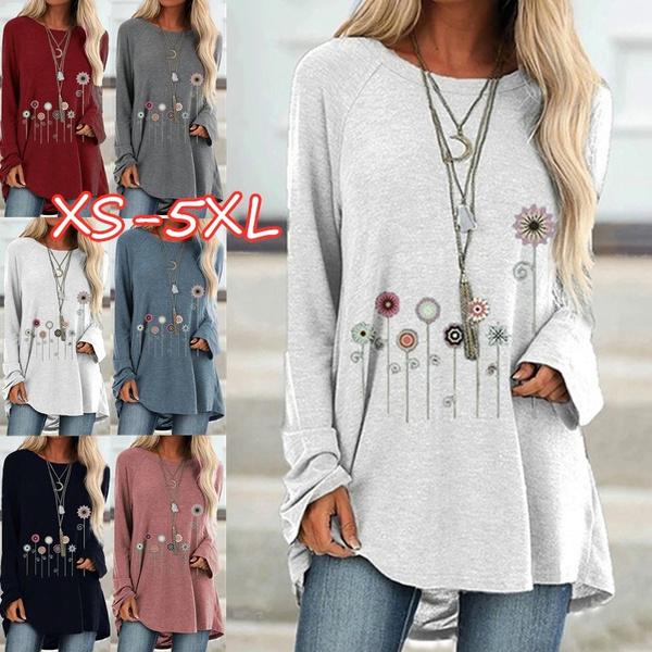Plus Size, Long Sleeve, printed shirts, Autumn Shirts