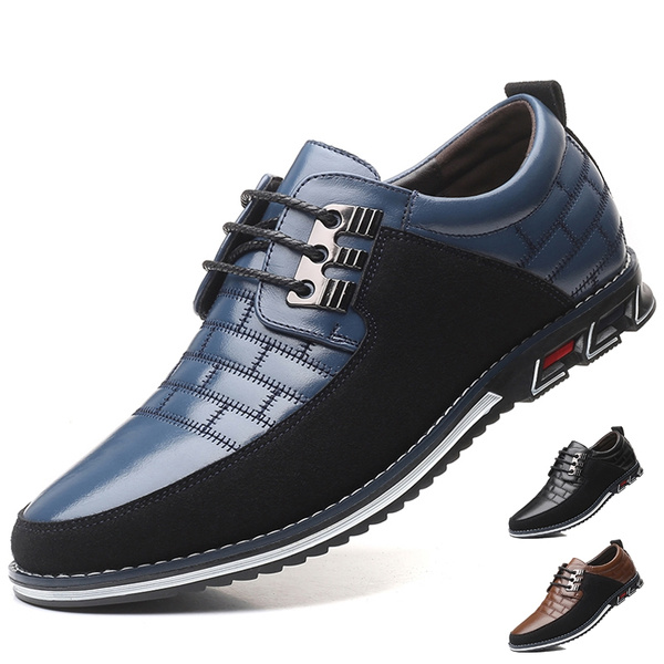 Elegdy Mens Business PU Leather Shoes Classic Lace Up Loafers Square Texture Strong Outsole Oxfords