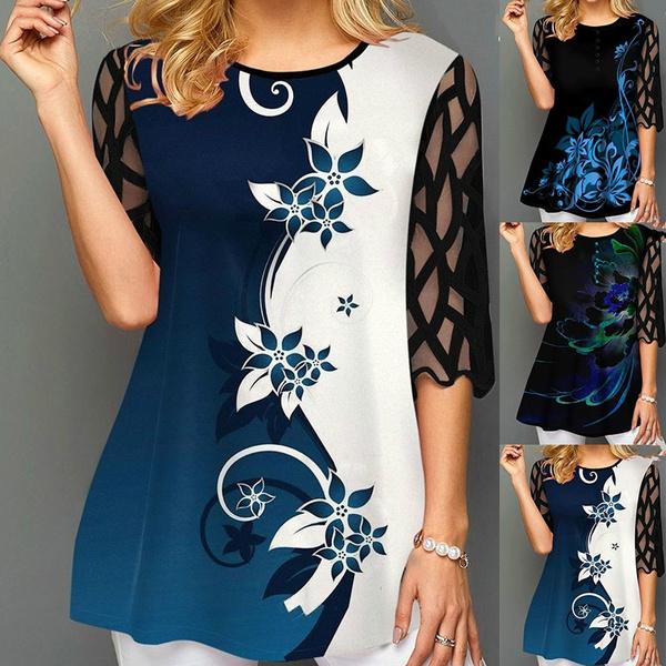 blouse, Plus Size, Floral print, Winter