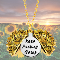 keepfuckinggoing, inspirationalnecklace, Sunflowers, sunflowerlocket