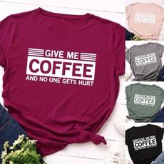 Coffee, Plus Size, letter print, cottontshirtforwomen