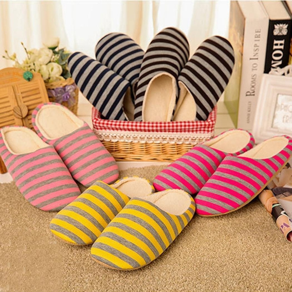 Women Men Striped Warm Non Slip Floor Home Slippers Indoor Bedroom Shoes Wish