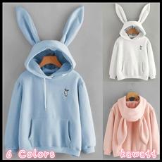 women pullover, hooded, rabbit, Sleeve